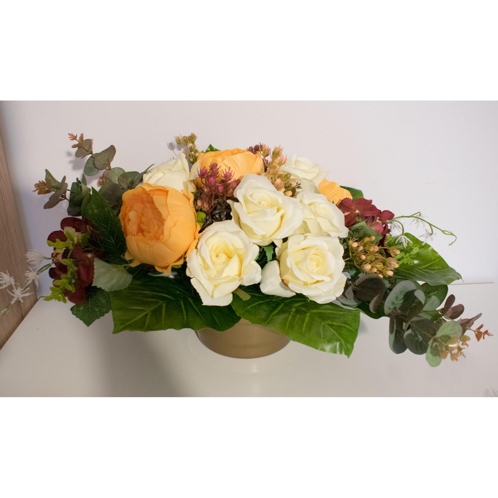 KOMPOZYCJA NAGROBNA sztuczna kwiatowa - Piękny STROIK