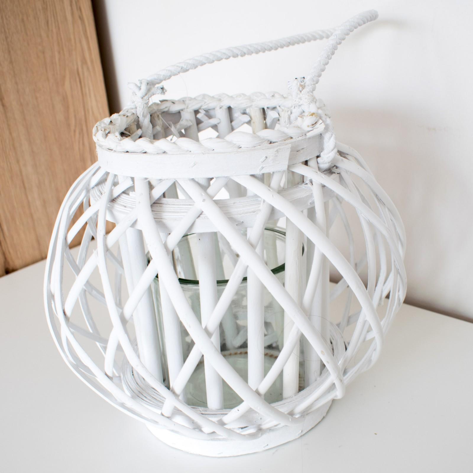 LAMPION WIKLINOWY BIAŁY na świeczki ze szklanym wkładem 28cm