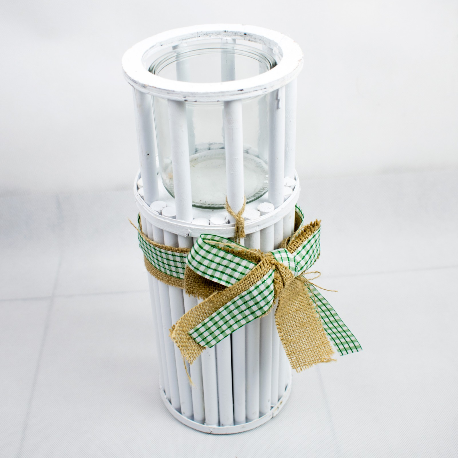LAMPION DREWNIANIY OKRĄGŁY biały z ozdobną kokardą